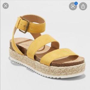 yellow platform sandals